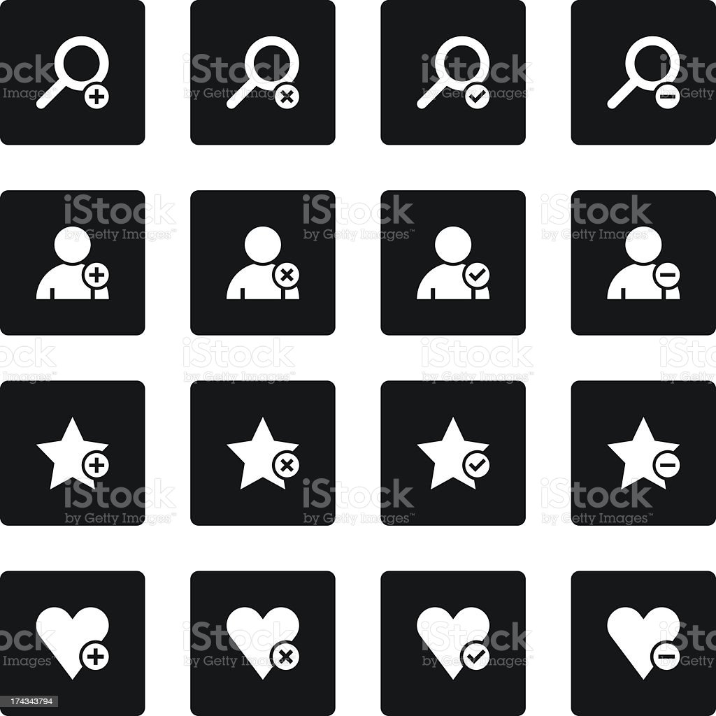 Loupe user heart star sign black square button simple icon royalty-free stock vector art