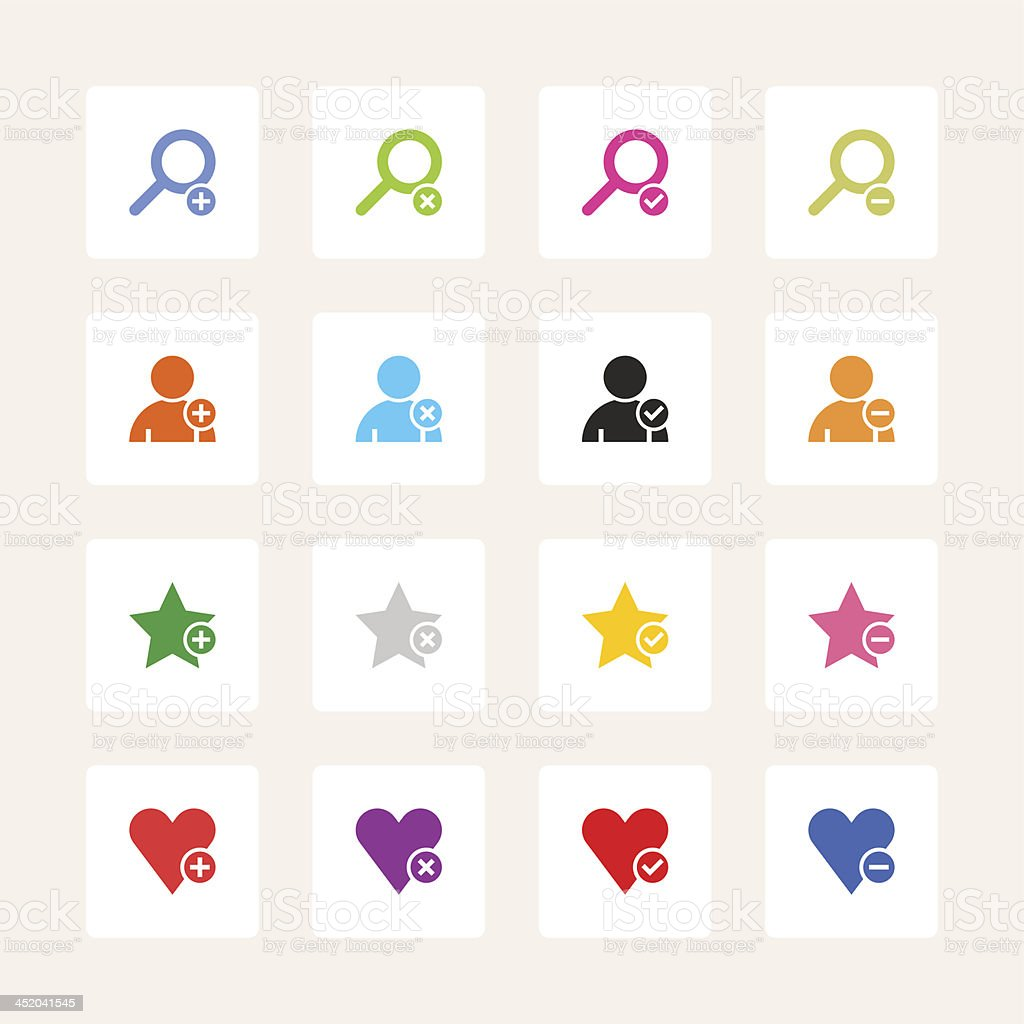 Loupe user heart star sign white square button simple icon royalty-free stock vector art