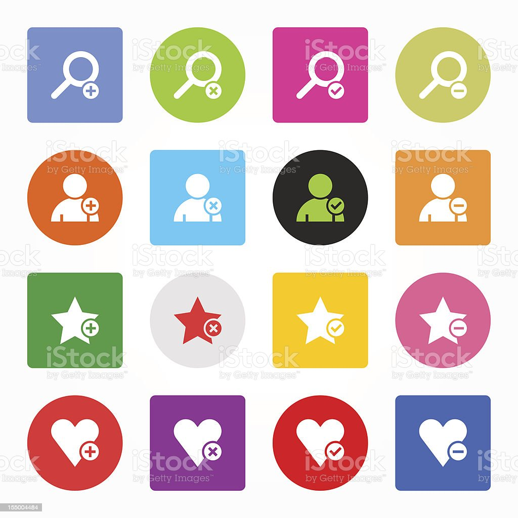 Loupe user star heart sign simple icon сircle square button royalty-free stock vector art