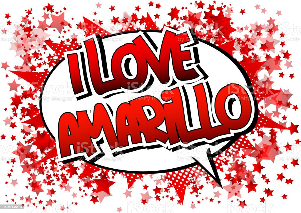 I Love Amarillo - Comic book style word. vector art illustration