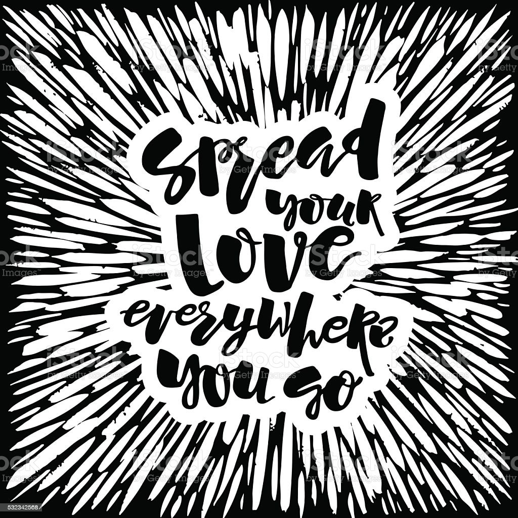 Love and charity concept hand lettering motivation poster. vector art illustration