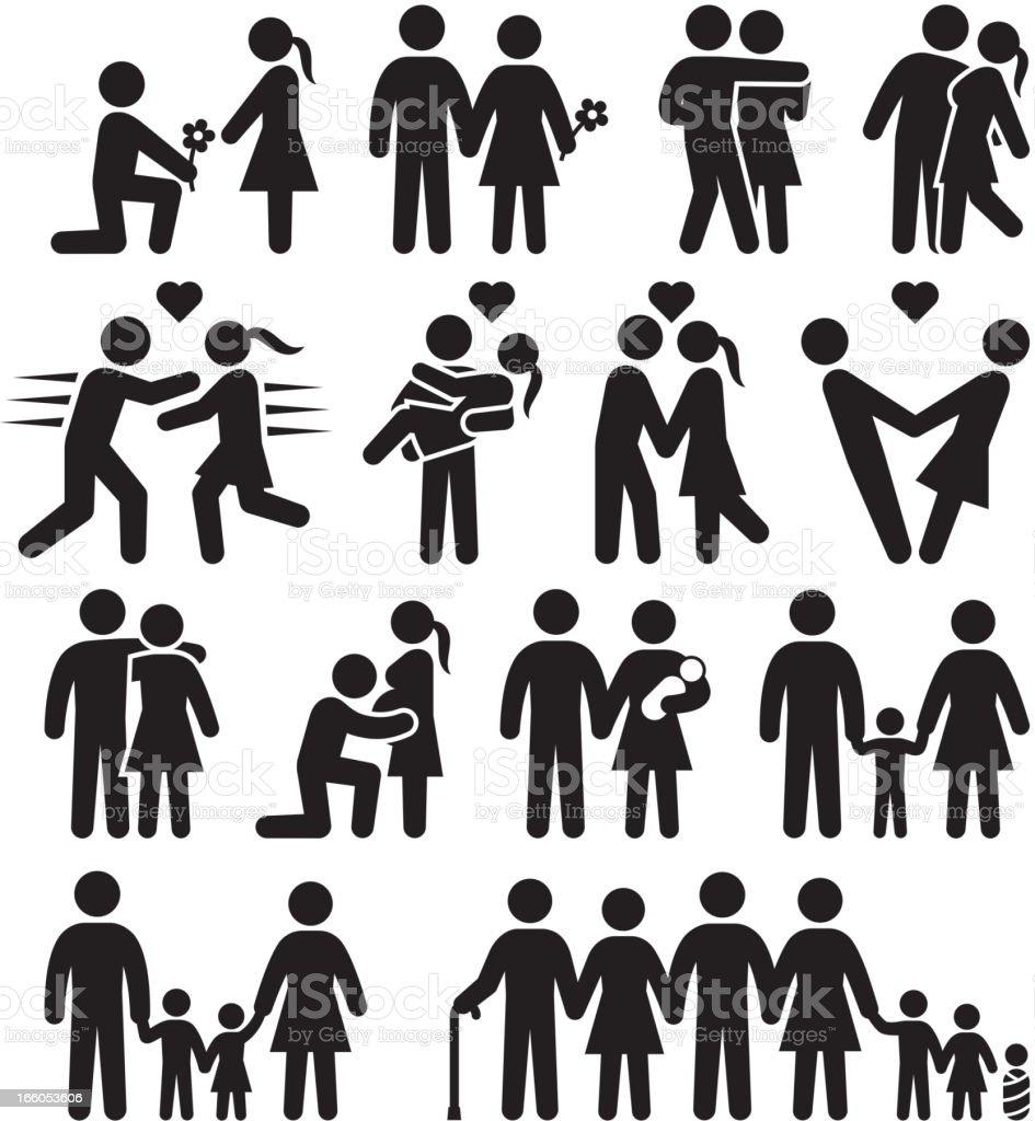 Love and family life black & white vector icon set vector art illustration