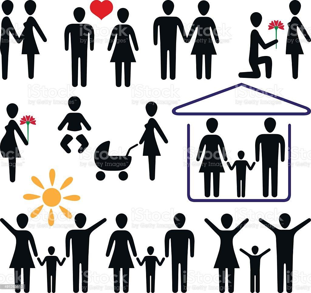 love and family vector art illustration