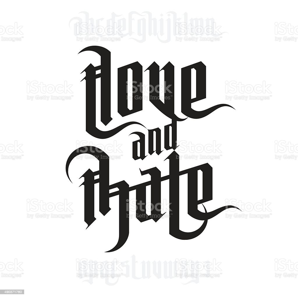 Love and Hate lettering vector art illustration