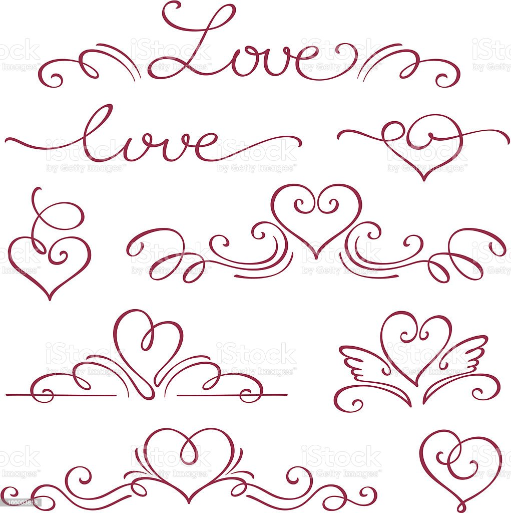 Love and hearts in a calligraphy style in red ink royalty-free stock vector art