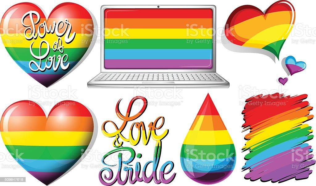 Love and pride with hearts and rainbow objects vector art illustration