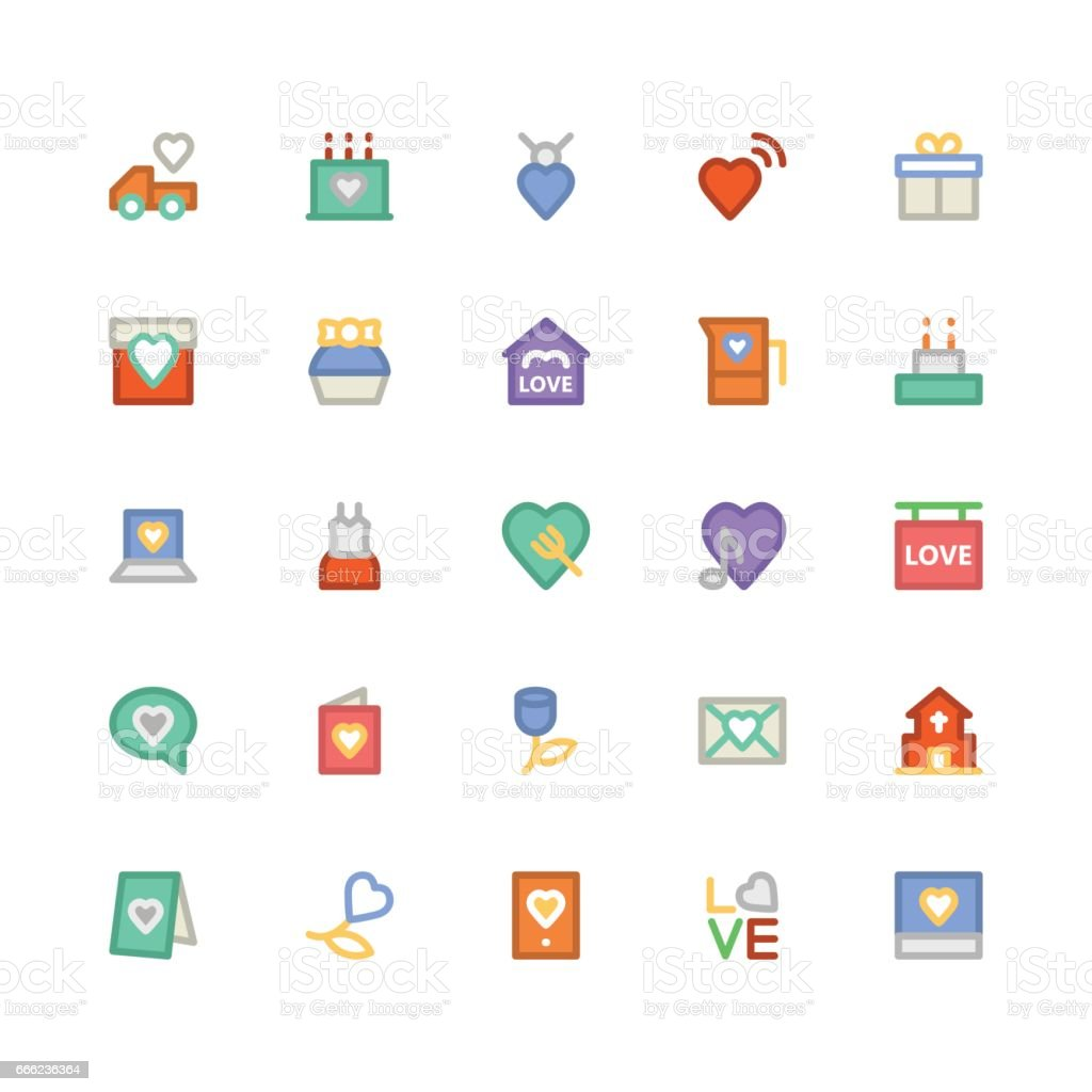 Love and Romance Colored Vector Icons 2 vector art illustration