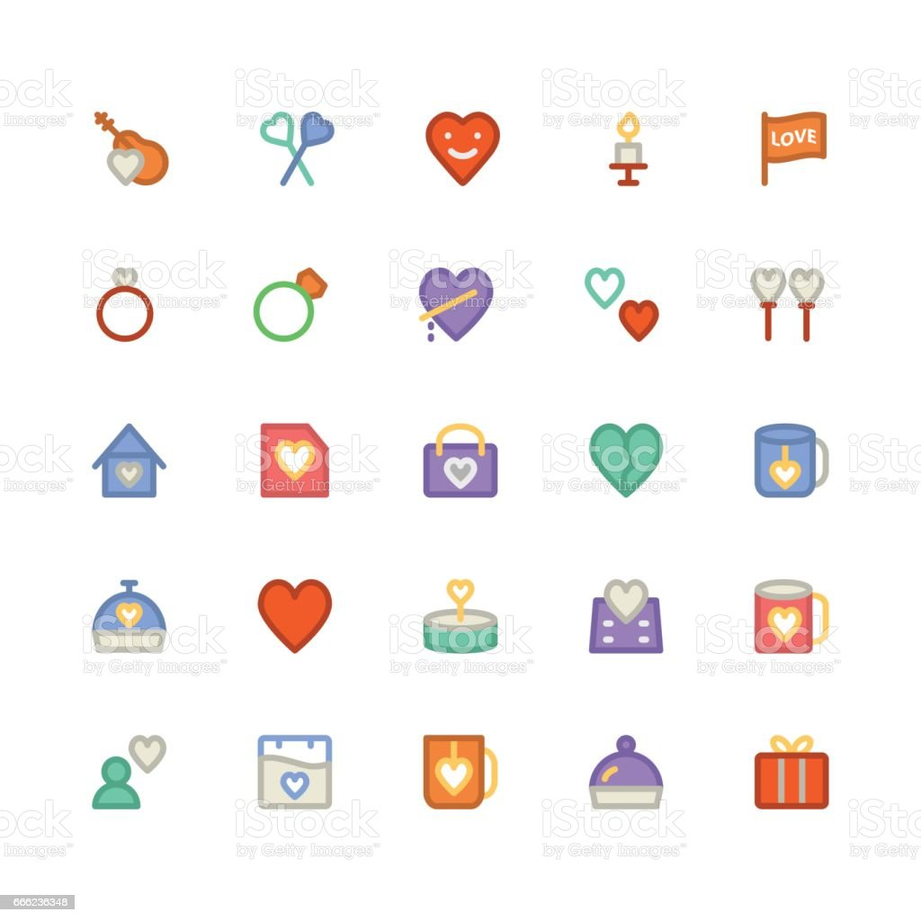 Love and Romance Colored Vector Icons 6 vector art illustration