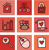 Love and romance only block icon set