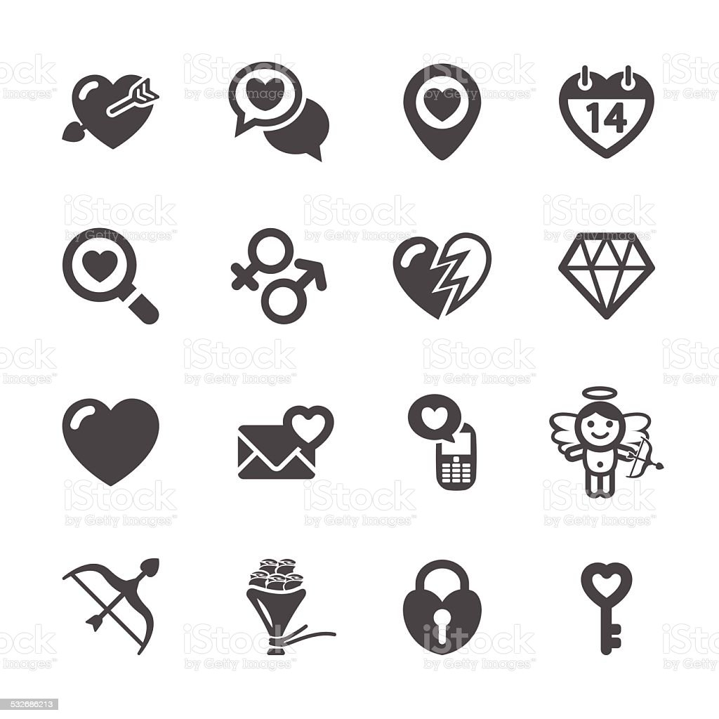 love and valentine icon set 7, vector eps10 vector art illustration