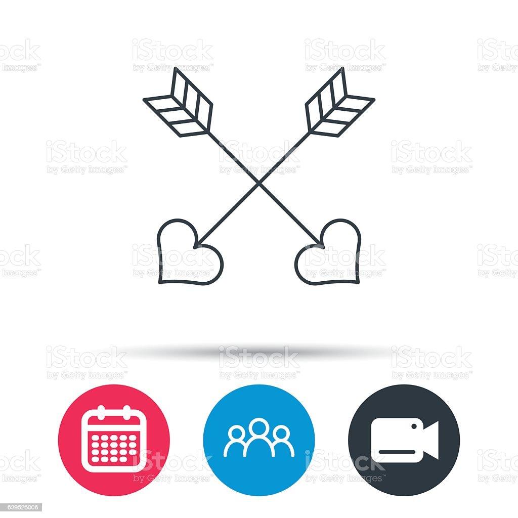 Love arrows icon. Amour equipment sign. vector art illustration