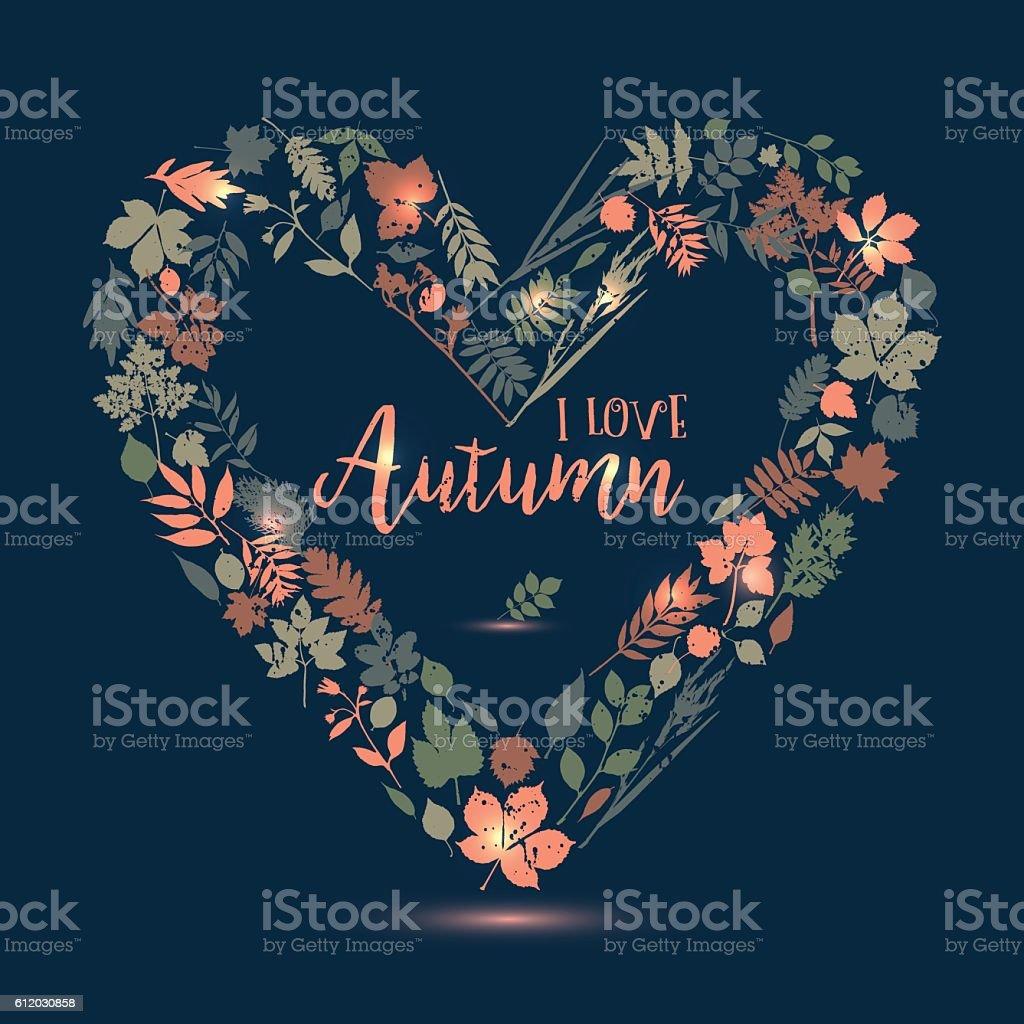 I love autumn. Vector design illustration with heart. Autumn lea vector art illustration
