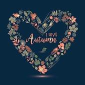 I love autumn. Vector design illustration with heart. Autumn lea