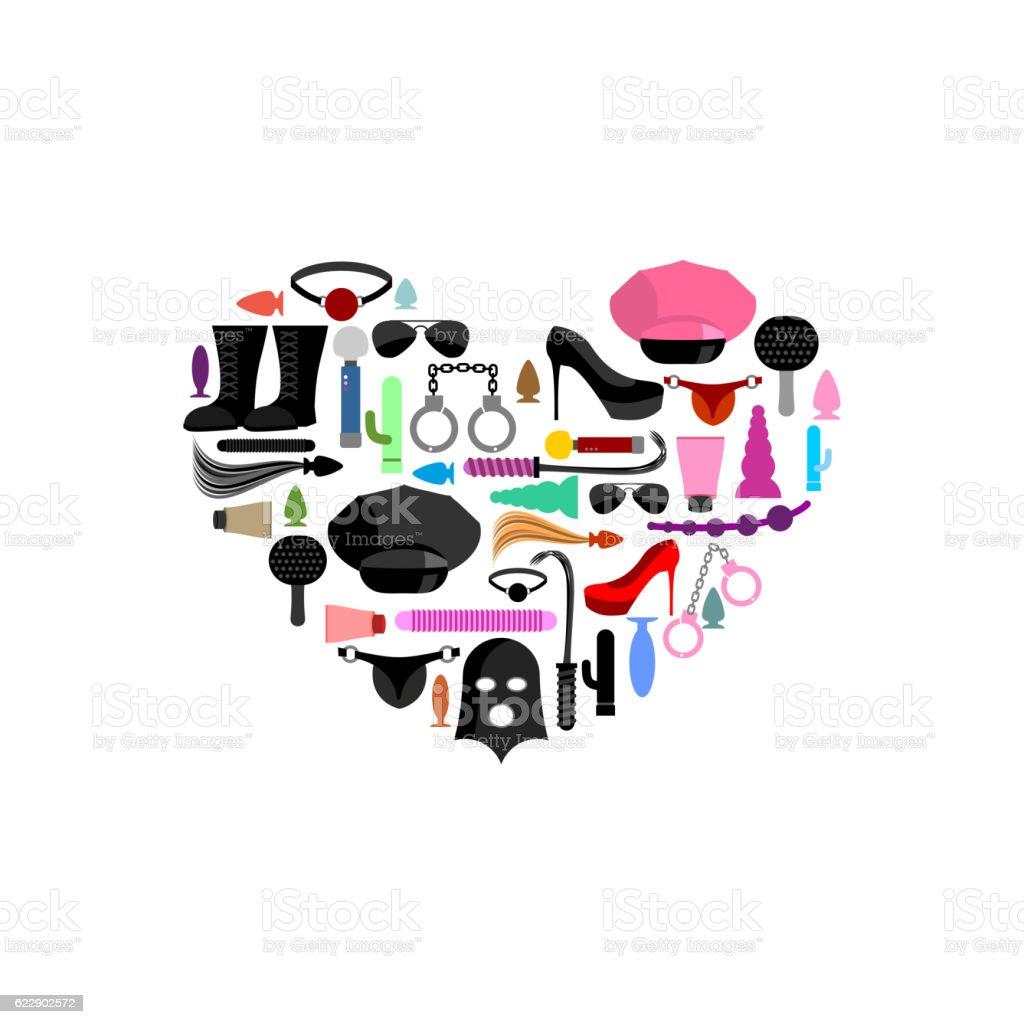 I love BDSM. Sex toys in form of heart. vector art illustration