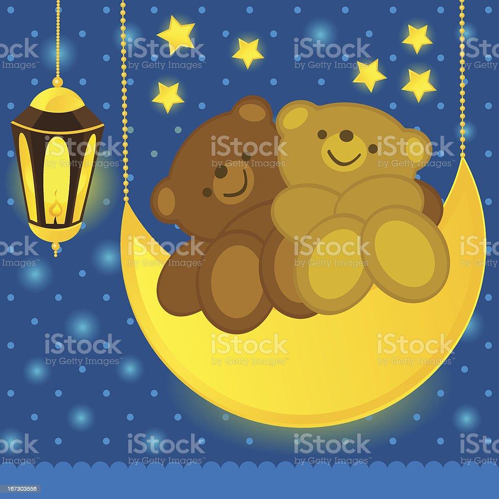 Love bears on the moon royalty-free stock vector art