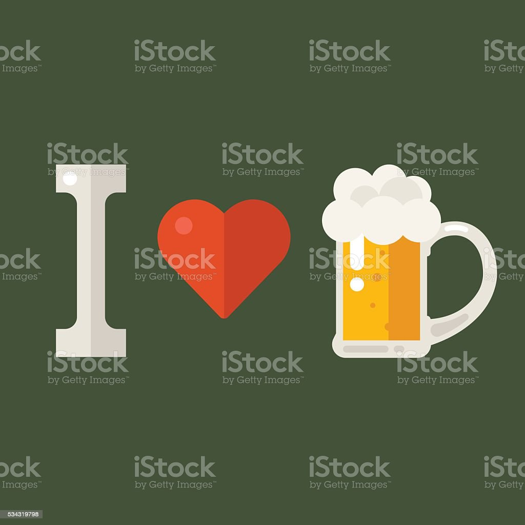 I love beer vector art illustration