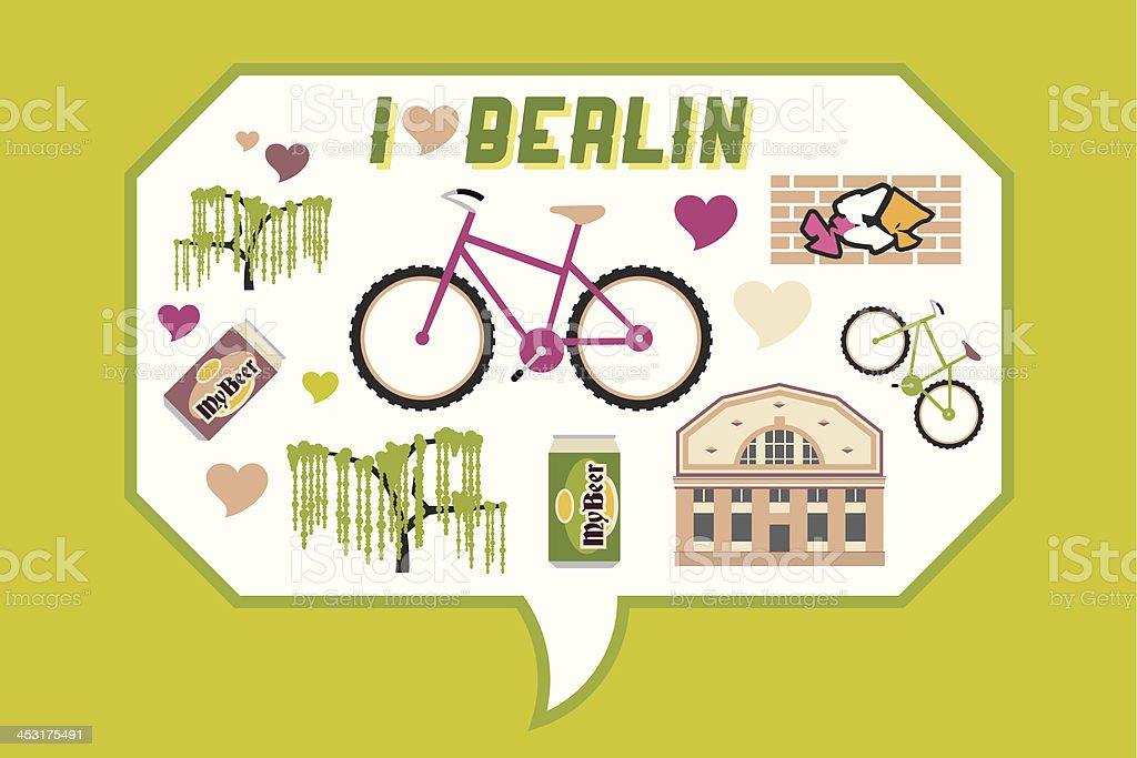 I love Berlin vector art illustration