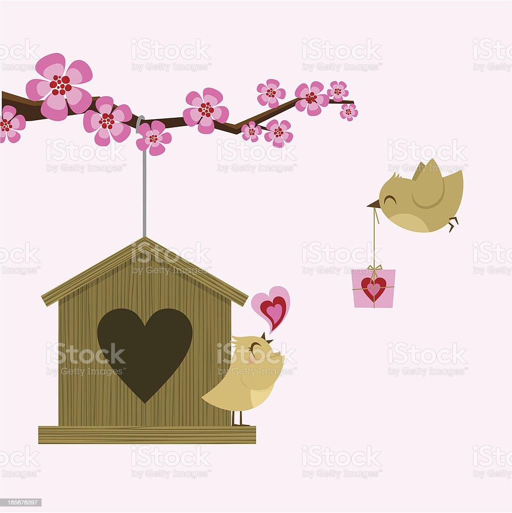 Love bird. St. Valentine card. Happy birthday. sakura royalty-free stock vector art