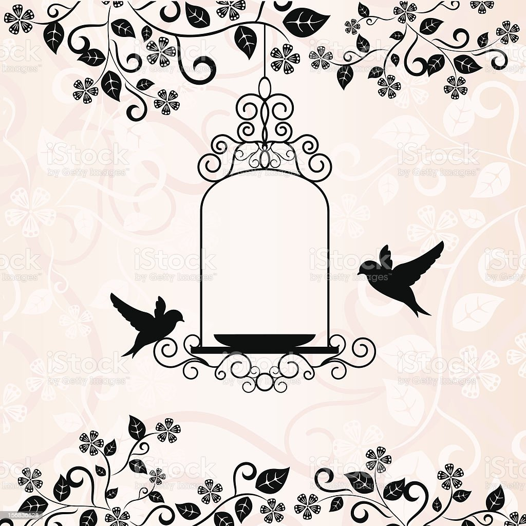 love birds and floral pattern in pink background vector art illustration