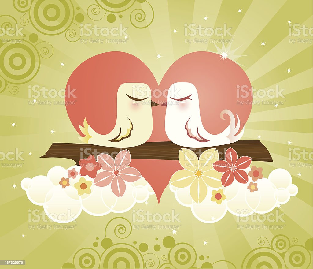 Love Birds at Heart royalty-free stock vector art