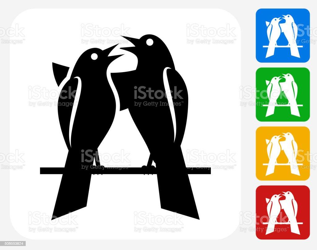 Love birds Icon Flat Graphic Design vector art illustration
