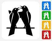 Love birds Icon Flat Graphic Design