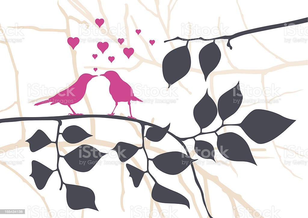Love Birds on a Tree - Vector Illustration vector art illustration