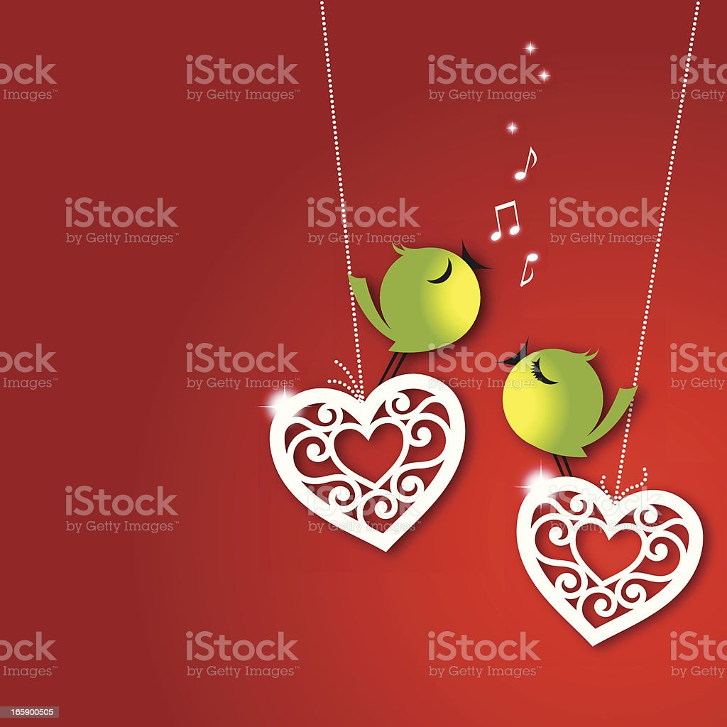 Love birds on red vector art illustration