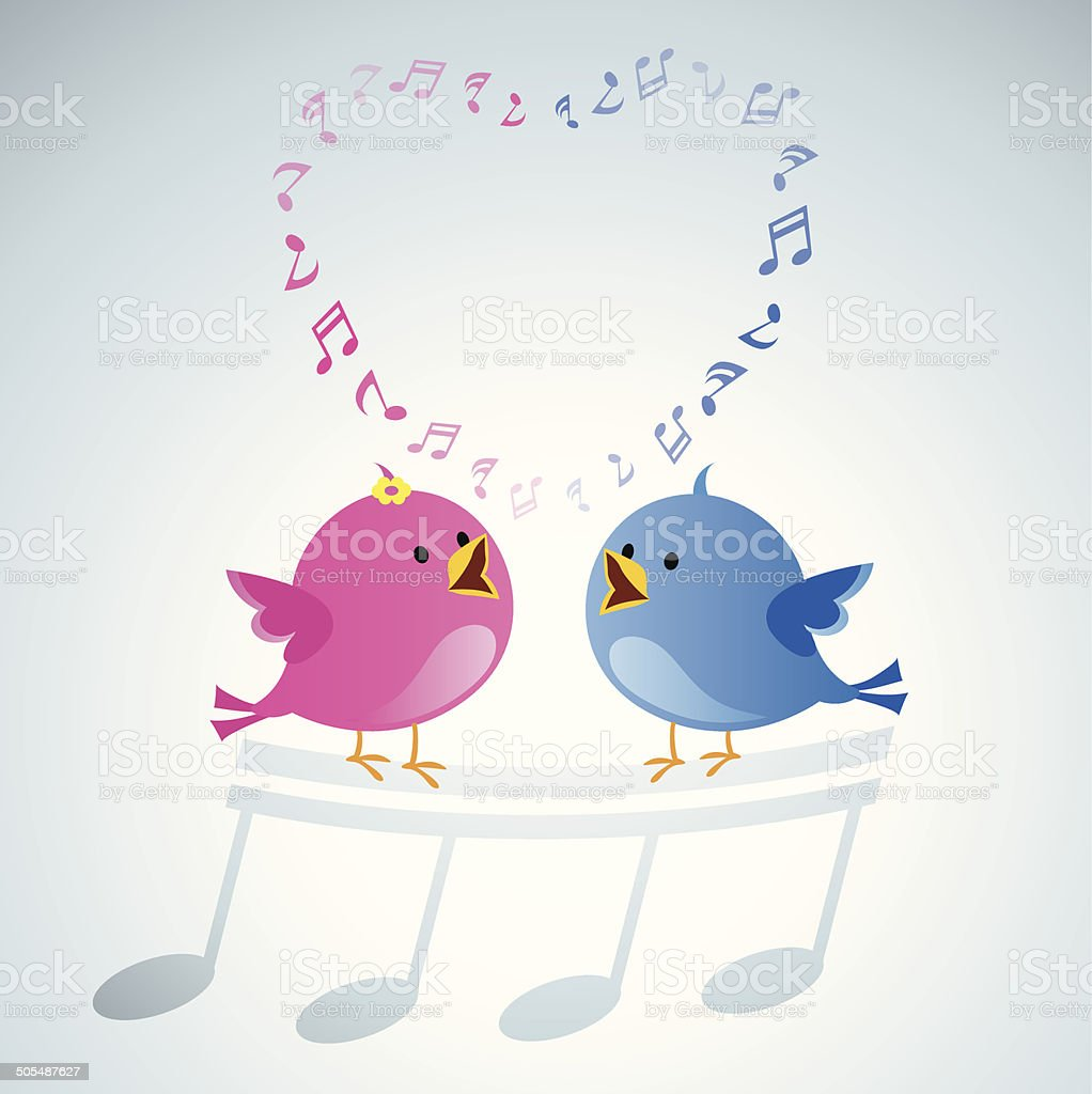 Love birds singing vector art illustration