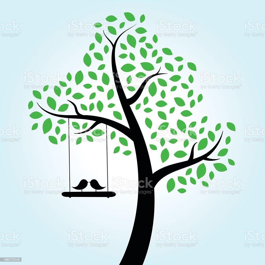 Love Birds Tree vector art illustration