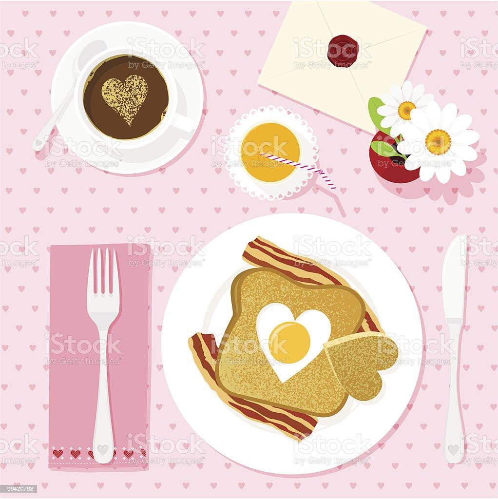 Love breakfast vector art illustration