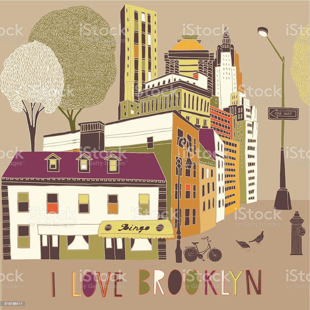 I Love Brooklyn vector art illustration