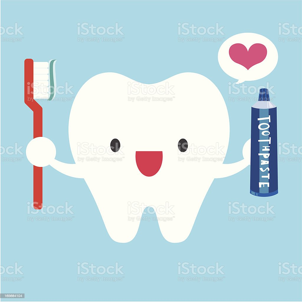 I Love Brushing My Teeth vector art illustration