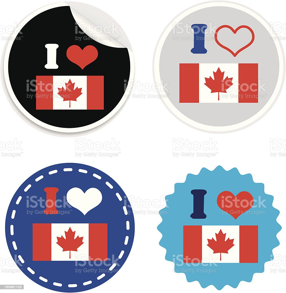 I Love Canada flag Badge or sticker royalty-free stock vector art