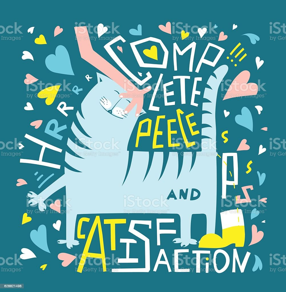 Poster design vector graphics - Love Cats Fun Humor Typography Graphic Poster Design Royalty Free Stock Vector Art