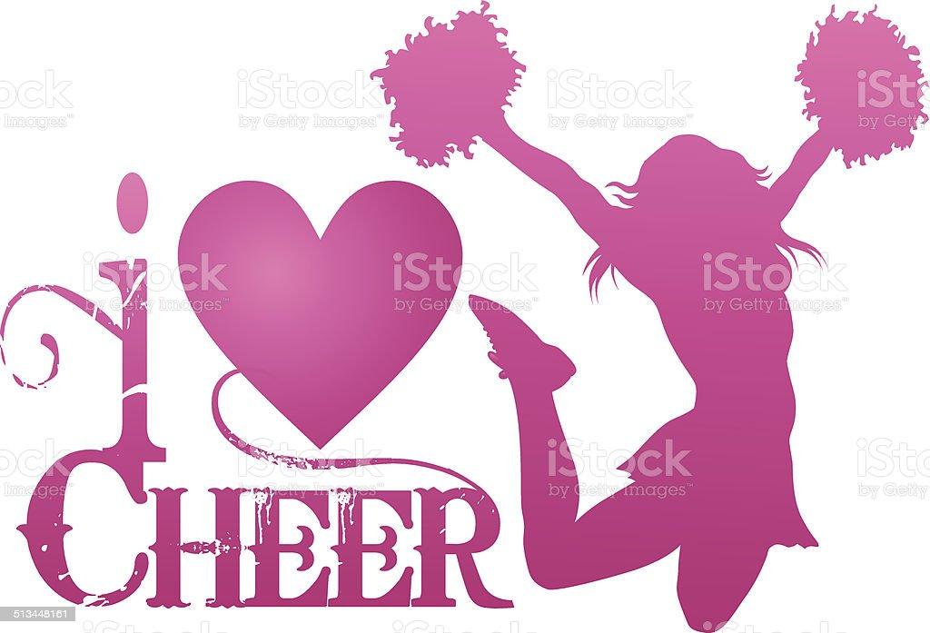 I Love Cheer With Jumping Cheerleader vector art illustration
