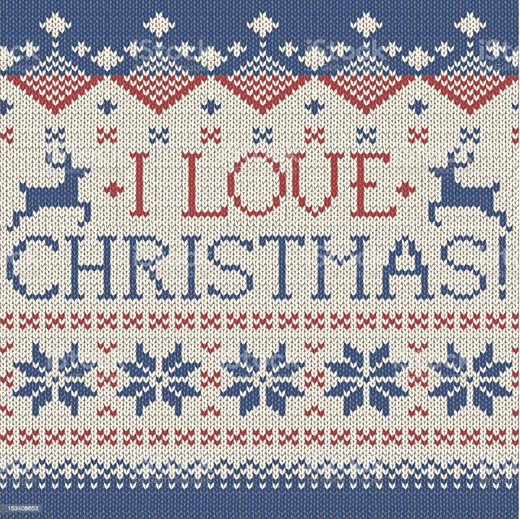 I love Christmas: Scandinavian style seamless knitted pattern with deers royalty-free stock vector art