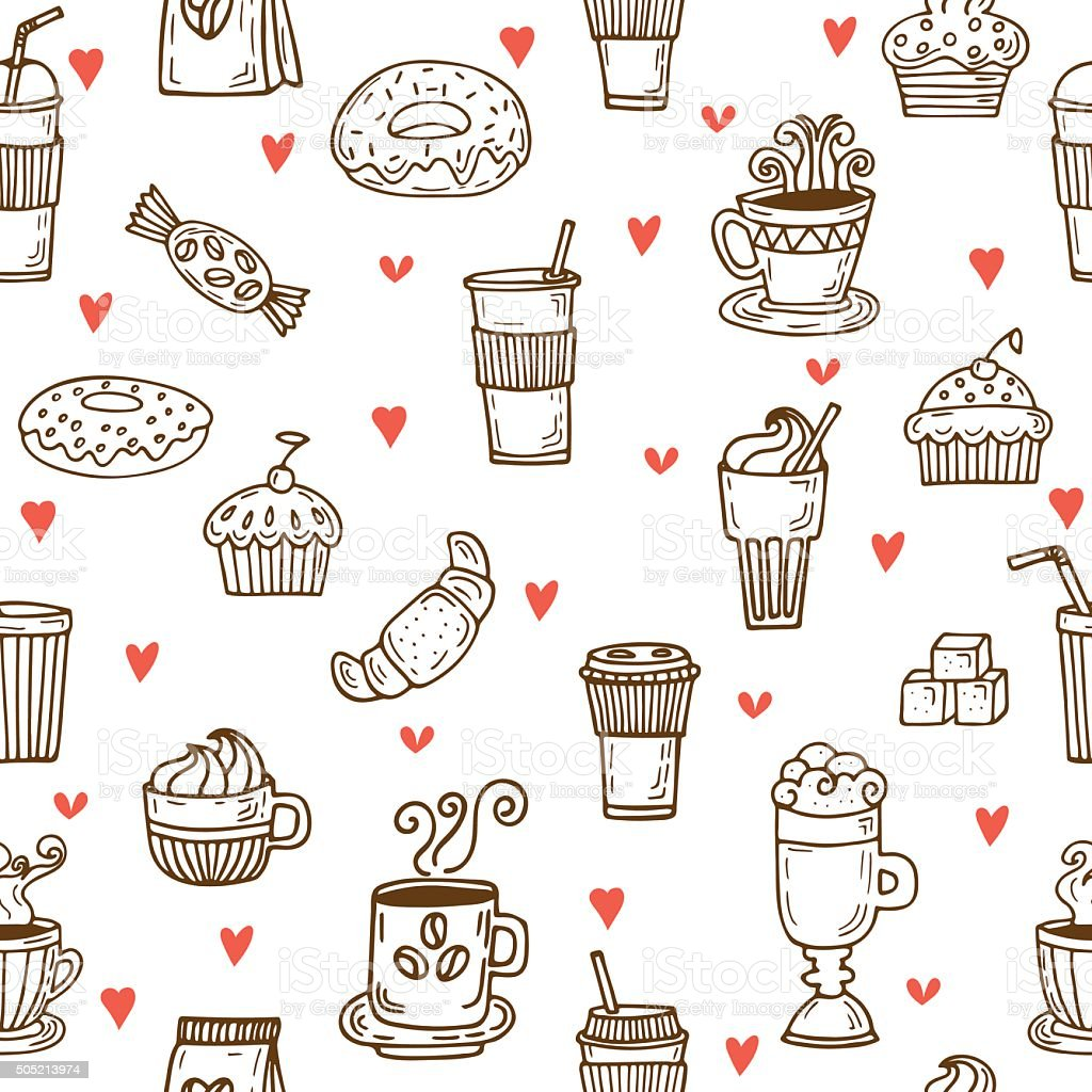 I love coffee. Hand drawn seamless pattern with coffee cups vector art illustration