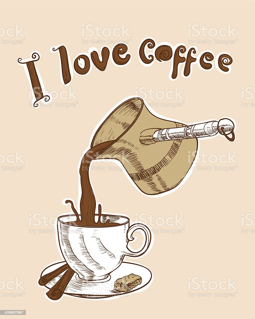 I love coffee vector art illustration