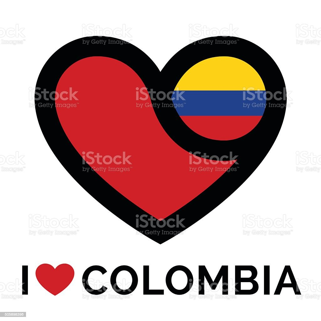 I love Colombia banner icon with heart and flag vector art illustration