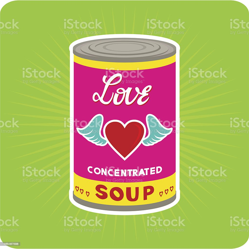 Love Concentrated.pop art. andy warhol. tin can royalty-free stock vector art