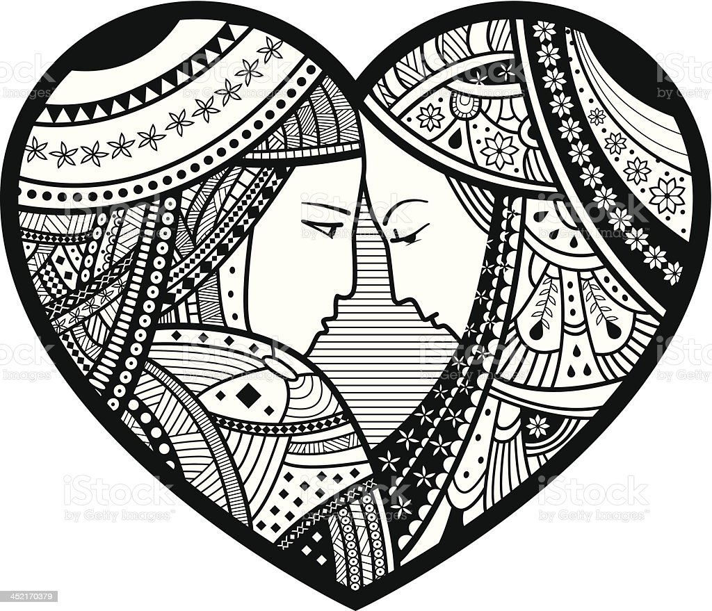 Love Couple In Heart. royalty-free stock vector art