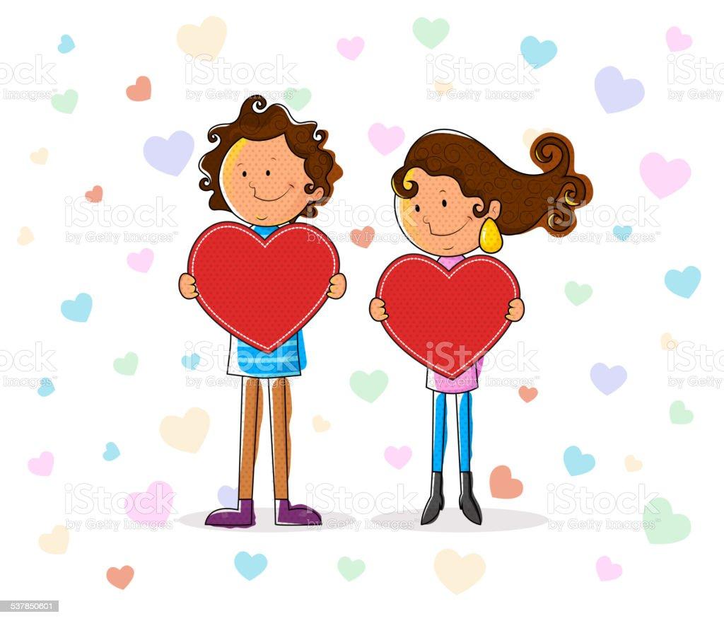 愛のカップルにハートのバレンタインデー のイラスト素材 537850601   istock