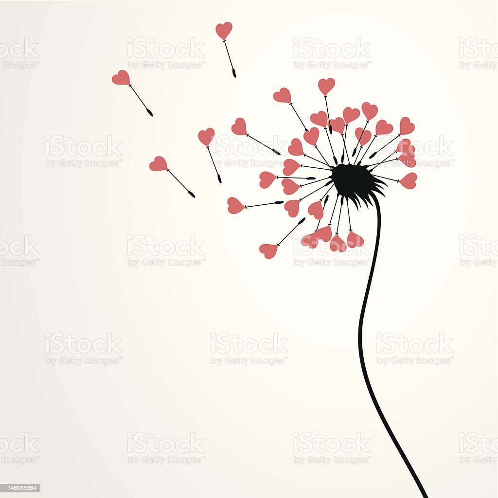 Love dandelion vector art illustration