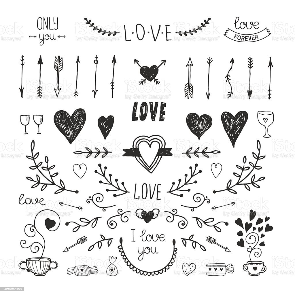Love decorative elements, hand drawn collection vector art illustration