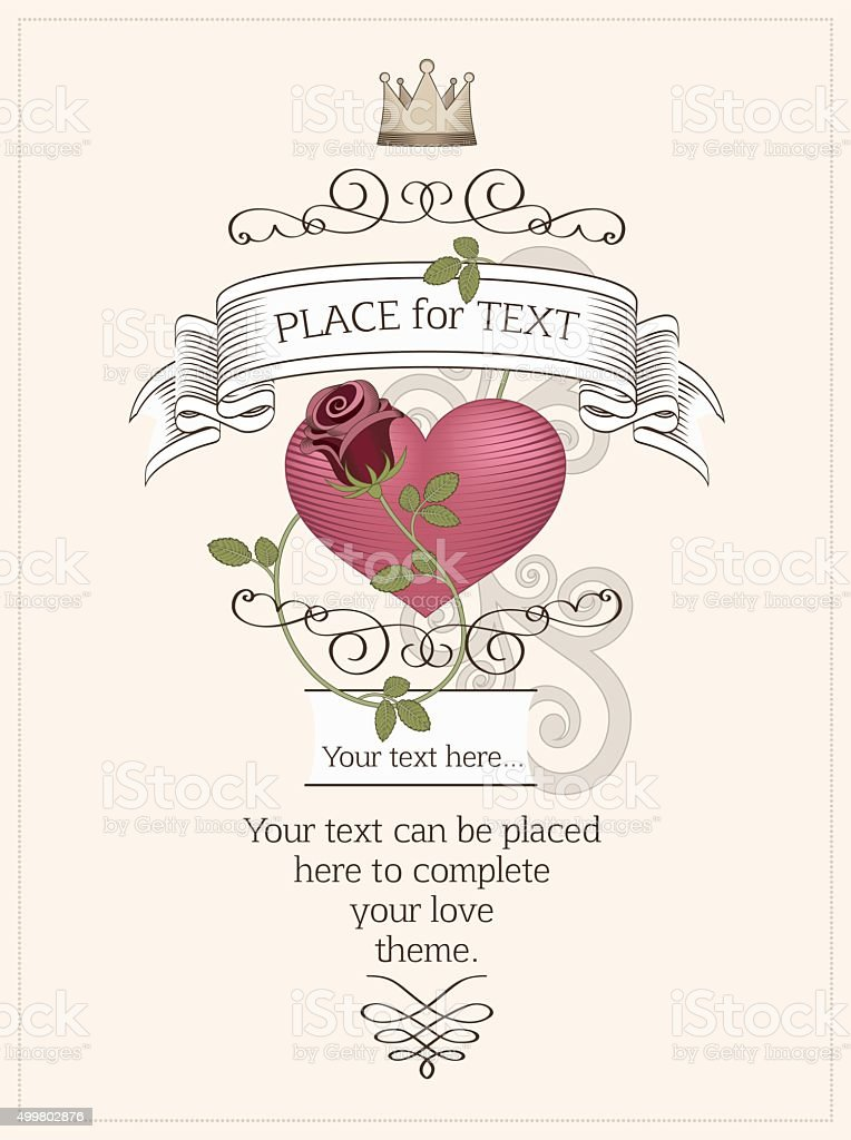 Love design with heart and rose. vector art illustration