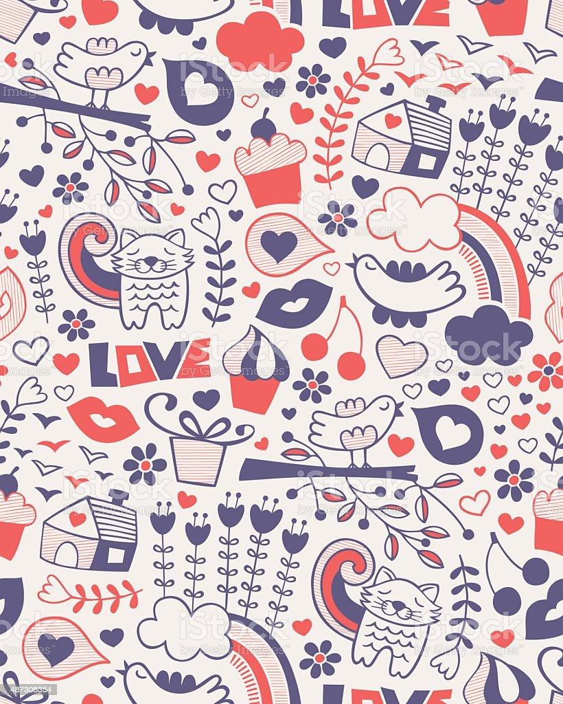 Love Doodle Seamless Pattern vector art illustration