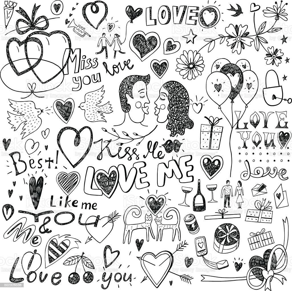 love doodles vector art illustration