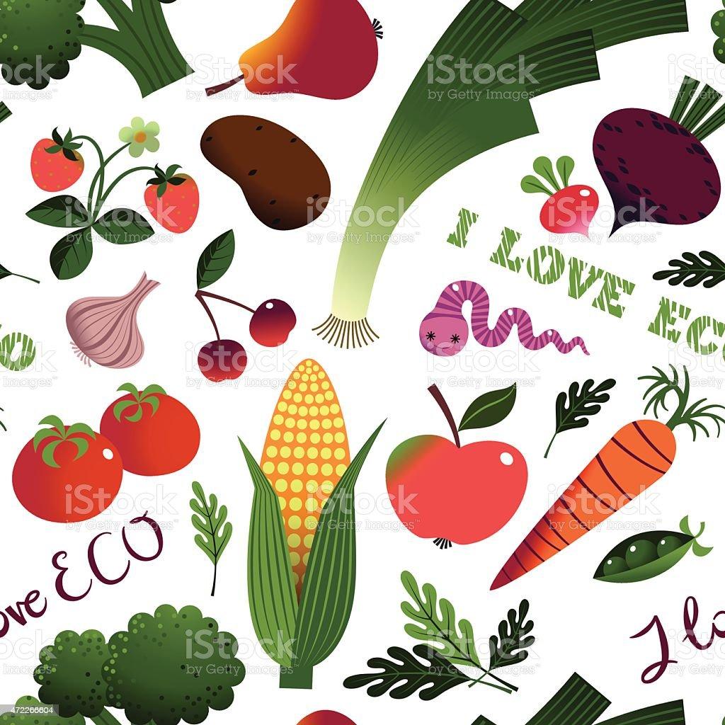 I Love ECO. Fruit  and Vegetables. vector art illustration
