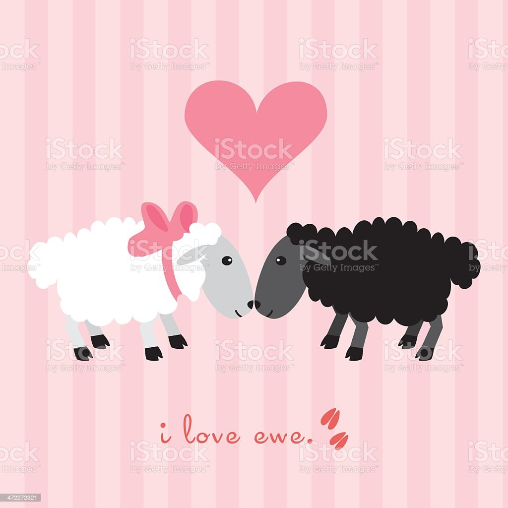 I love ewe. vector art illustration